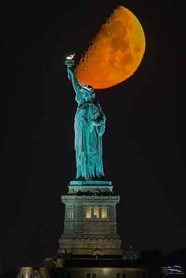 Half Moon over Lady Liberty