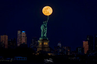 Worm Moon over Lady Liberty